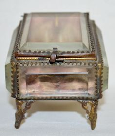 Antique Beveled Glass Jewelry Box Pocket Watch Holder in the Form of ... Lot 382