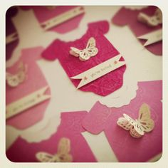 From Etsy Shop:AllTheLittleThingz. Baby Shower Invites Pink Onesie with Butterfly. $45.00, via Etsy.