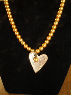 Handcrafted Bronze Heart Necklace by JemsbyJackieS on Etsy