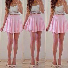 Cute pink skirt with heels