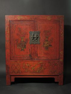 19th Century Chinese Red Lacquer Cabinet. I want! Would make a good drinks cabinet Hmmmm?
