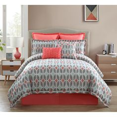 Brighten up your bedroom with the lively Clairebella Bermuda Comforter Set. The unique jacquard bedding uses an allover leaf-like pattern in a mix of grey, light blue, and a soft coral color to add a pop of color to your bed. Coral Bedding, Grey Comforter, Twin Comforter Sets, Bedding Sets, King Comforter, Grey Bedroom With Pop Of Color, Blue Gray Bedroom, Bedroom Colors, Bedrooms