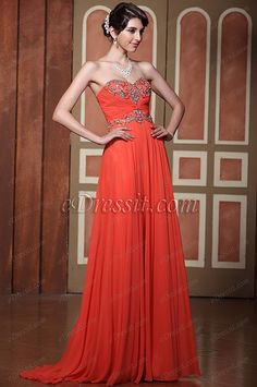 Luxurious Strapless A-line Beaded Coral Evening Dress Prom Gown (C36143857)