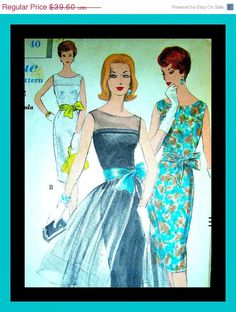"SALE Vintage 1960 Vogue Ladies STUNNING Cocktail Evening Dress with SASH Pattern 9946 - Ff - ""Easy to Make"". $36.43, via Etsy."