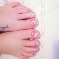 "My pedicure using ""spring flowers"" -- for more designs check out my page at abeaton.jamberrynails.net"