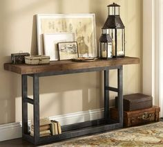 American old pine console table loft retro wood to do the old wrought iron entrance station Anzhuo small reads