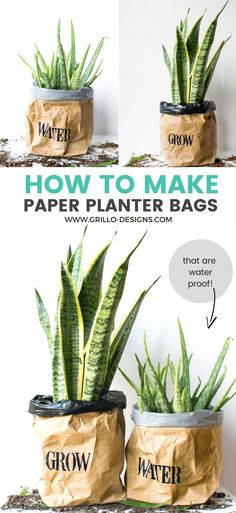 DIY PLANTER BAGS -Learn how to make a durable waterproof planter bag from Kraft/Packing paper!