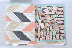 Baby Quilt Herringbone Boho Tribal Chic Modern Feather Coral Ivory Gray White Aqua baby girl nursery Gold Play Mat Tummy Time Mat Stroller B by TheBobbinBelle on Etsy https://www.etsy.com/listing/270843664/baby-quilt-herringbone-boho-tribal-chic