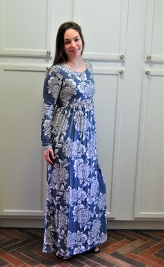 2a1329fd486 The Darcy Maxi Dress is SUPER soft and comfy! The denim blue color and  light grey white floral pattern is striking! And girls..IT HAS POCKETS!!