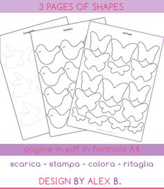 PRINTABLE PDF's for bunnies, butterflies and birds / PAGINE-STAMPABILI PER PASQUA Design by alex b.