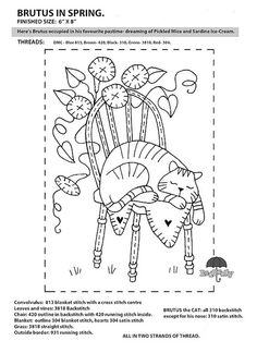 """FREE Red Brolly Cat Stitchery pattern: Catalicious B. """"Brutus in Spring"""" Block Vintage Embroidery, Embroidery Applique, Cross Stitch Embroidery, Machine Embroidery, Embroidery Designs, Primitive Embroidery Patterns, Cross Stitches, Broderie Primitive, Primitive Stitchery"""