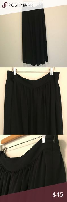 """BR  black maxi skirt This is a lovely full black maxi skirt from Banana Republic size L Structured waistband, side zipper, 22"""" lining and 16"""" split on the right side Polyester, but feels like chiffon and is machine washable Gently worn and in excellent condition Approximate Measurements: Waist: 35.5"""" Length: 41"""" (from top of skirt to hem) Banana Republic Skirts Maxi Black Maxi, Cheer Skirts, Banana Republic, Feels, Chiffon, Ballet Skirt, Zipper, Best Deals, Closet"""