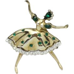 CORO CRAFT Corocraft Vintage Figural Rhinestone Ballerina Dancer Brooch Pin