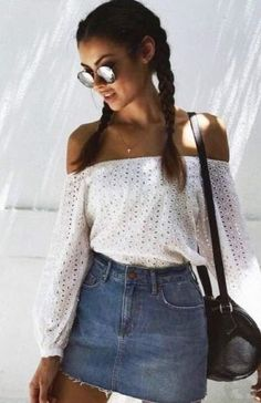 Rocking #white #offshoulder #top & #denimskirt #summerstyle #summeroutfit #outfits #fashion