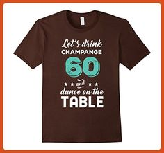 Mens Funny 60th Birthday Shirt | Let's Drink Champange 60 T-Shirt 2XL Brown - Food and drink shirts (*Partner-Link)