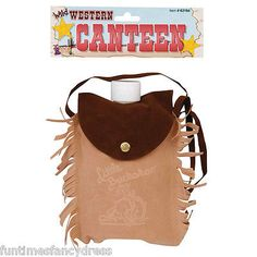 Cowboy indian wild west western canteen drink flask faux suede fancy