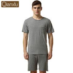 6ec45aa86f1 Summer Casual Modal Pajamas for Men Stripe Short-sleeve Pajamas to  sleepwomen men Plus Size Pajama Set Shipping