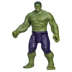 """The Avengers face their worst enemy yet, but they've got a secret weapon: Titan Hero Tech! This Hulk figure has the massive strength of the gamma-green superhero, but he combines it with high-tech light effects and sounds! He says phrases like """"Hulk smash!"""" and he recognizes and reacts to other Titan Hero Tech figures (sold separately). He'll say """"Hulk smash puny robot!"""" to Iron Man! Team up your Hulk figure with his fellow Avengers against Ultron, and start the battle for the fate of the…"""