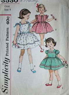 Vintage 50's Simplicity 3530 Sewing Pattern, Child's One-Piece Dress, Size 4