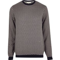 River Island Navy zig zag jumper ($39) ❤ liked on Polyvore featuring men's fashion, men's clothing, men's sweaters, boy, jumpers, mens crew neck sweater, mens crewneck sweaters, mens slim fit sweaters, mens long sleeve polo sweater and mens tall sweaters