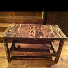 Barn Door table sanded and burned with a torch