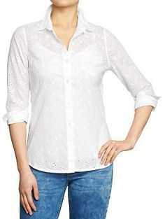 Women's Button-Front Eyelet Shirts | Old Navy