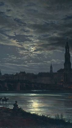 "Johan-Christian Dahl : ""View of Dresden by Moonlight"" - android Scenery Wallpaper, Wallpaper Backgrounds, Nice Wallpapers, Wallpaper Desktop, Screen Wallpaper, Nature Wallpaper, Mobile Wallpaper, Dark Phone Wallpapers, Pretty Phone Backgrounds"