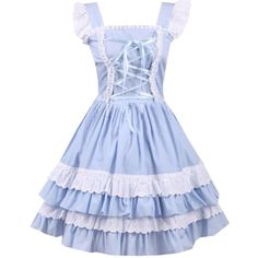 Partiss Women's Cotton Blue Lace Front Ties Sweet Lolita Dress (80 AUD) ❤ liked on Polyvore featuring dresses, lace up dress, laced dress, tie dress, cotton dress and blue day dress
