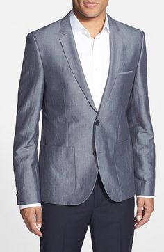 Men's HUGO 'Alesano' Trim Fit Linen Blend Blazer