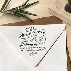 Merry Christmas Address Stamp Christmas Address Stamp Merry Custom Address Stamp, Custom Stamps, Holiday Invitations, Wedding Invitations, Customized Gifts, Personalized Gifts, Save The Date Stamp, Self Inking Stamps, Writing Paper