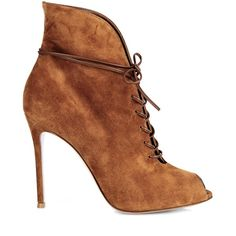 Gianvito Rossi Jane lace-up suede ankle boots (16 660 UAH) ❤ liked on Polyvore featuring shoes, boots, ankle booties, heels, tan, heeled ankle boots, peep toe ankle boots, lace up booties, tan booties and suede ankle boots