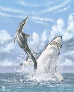 Flying Mosasaur (the shark is Cretoxyrhina mantelli) by ~dustdevil @ deviantART http://dustdevil.deviantart.com/