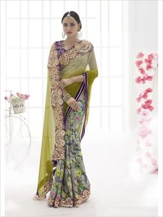 Green Party Wear Georgette/Net/Satin Saree