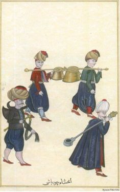 Soup cooks. (Album, Topkapi Palace Museum Library, Ahmed III Collection, MS 3690). Source: Turkish Medical History through Miniature Pictures Exhibition, published by Nil Sari-Ülker Erke, Istanbul: ISHIM, 2002.Çorba aşçılar.