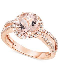 Image 1 of Morganite (1-5/8 ct. t.w.) & Diamond (1/3 ct. t.w.) Ring in 14k Rose Gold