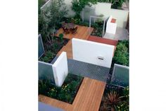 24 Awesome Small Garden Design Ideas Pictures : Small Garden With Wooden Floor Plan Using White  Partition Wall