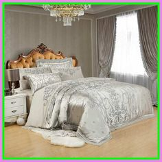 Sliver Golden Luxury Satin Jacquard Bedding Sets Embroidery Bed Set Double Queen King Size Duvet Cover Bed Sheet Set Pillowcase Color 2 King ** Check this awesome product by going to the link at the image. (This is an affiliate link) Silk Bed Sheets, King Size Bed Sheets, King Size Duvet Covers, Queen Bedding Sets, Luxury Bedding Sets, Bed Sheet Sets, Duvet Cover Sets, Comforter Sets, Modern Bedding