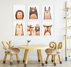 Set of 4 Safari Animal Ceramic Knobs Pulls Kitchen Drawer Cabinet Closet 739