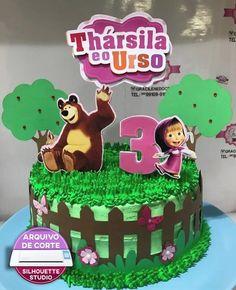 Topo De Bolo Masha E O Urso - Arquivo de Corte Silhouette Girls 3rd Birthday, 3rd Birthday Cakes, Bear Birthday, Doll Cake Designs, Masha Cake, Marsha And The Bear, Mickey Mouse Cake, Bear Party, Bear Cakes