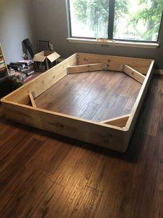 Bed Frame Plans, Diy Bed Frame, Diy Queen Bed Frame, Build Bed Frame, Making A Bed Frame, Diy Platform Bed Frame, Bed Platform, Bed Frame Design, Bed Design