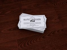 Business cards I created for my Massage Therapist, Kate Crocker. She wanted something clean and simple.