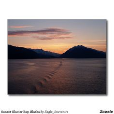 Sunset Glacier Bay, Alaska Postcard  #glacier #bay, #alaska, #sunset, #national #park, #romantic, #ocean, #water, #dusk, #twilight, #landscape, #sea, #sunlight, #evening, #nature, #mountains #postcard
