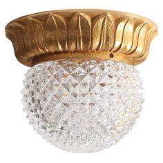 1 of 10 Glass Flush Mounts or Sconces on Gold-Plated Base by Glashütte Limburg 1