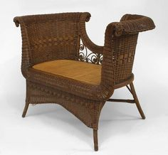 Wicker Victorian seating loveseat/settee natural