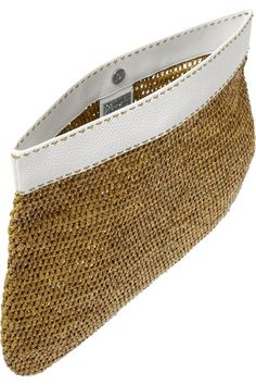 Michael Kors | Santorini large raffia and textured-leather clutch | NET-A-PORTER.COM
