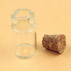 Glazen flesje met kurk én schroefoogje (staat niet op de foto). 15x22mm