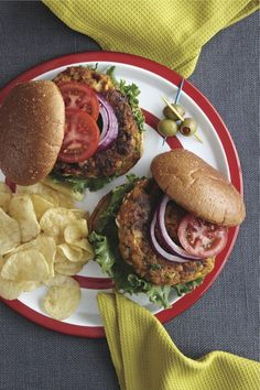 Here's a meatless burger that even meat eaters will love. Find more of the recipes you love in The Old Farmer's Almanac Comfort Food Cookbook. Food photo by Becky Luigart-Stayner Best Pumpkin, Canned Pumpkin, Burger Recipes, Vegetarian Recipes, Vegetarian Cooking, Vegan Food, Cookbook Recipes, Cooking Recipes, Herb Recipes