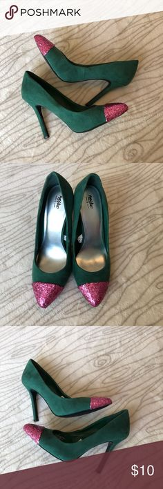 "🚨One Day Only🚨 Green faux suede pumps Beautiful green faux suede pumps with a pink glitter tip. One of a kind. Only tried on never wore. I believe the heel is 4"", so they are very easy to walk in.  🌸The glitter tip was added by me, as these were meant for my own personal use. I've dipped many in glitter and they have held up VERY well.🌸 Shoes Heels"