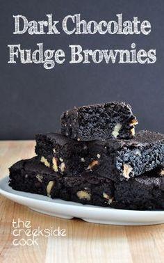 Super fudgey, super rich, super good: Dark Chocolate Fudge Brownies - The Creekside Cook