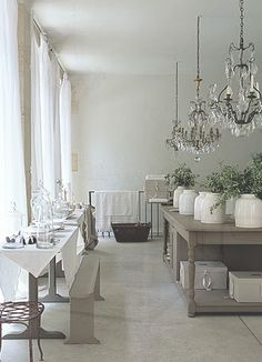 Love the chandeliers!    Roses and Rust: Monday Musings - Captivating Kitchens